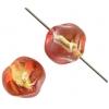 Glass Bead Baroque Round 10mm Orange/Gold/Pink - Strung